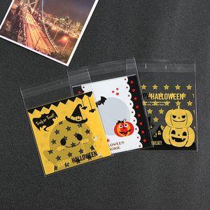 100pcs / lot Halloween Candy Bag Sac Autocollant Cookie Bag Cuire Cookie Biscuit Sac En Plastique Citrouille Imprimer Des Aliments Paquet Sacs VT0569