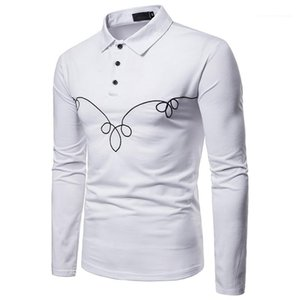 Designer Polos Long Sleeve Turn Down Collar Solid Color Embroidery Tops Casual Male Clothing Spring Autumn Mens