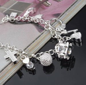 Top Quality 925 Sterling Silver Bracelet Woman Jewelry Valentine's Day Gift Cross Bracelet Free Shipping