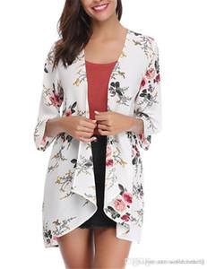 Rash guardas Moda solto Cardigan Swimwear For Women V Neck roupas das mulheres florais Womens impressos