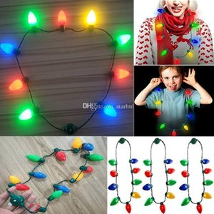 Led Light Up Christmas Bulb Necklace For Kids And Adults String Lights Necklace Christmas Decorations Xmas Party Free shipping WX9-1597