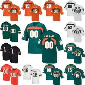 NCAA Miami Hurricanes College Football Jerseys Mens 15 Brad Kaaya Jersey Ed Reed Ray Lewis Sean Taylor Andre Johnson personalizado costurado