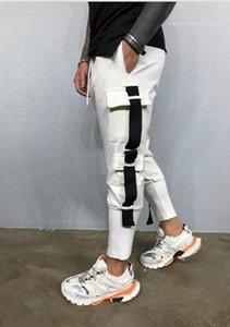 Casual colore solido drawstring della tasca dei pantaloni di moda stile sportivo pantaloni diritti casuali capi di progettista degli uomini Pantaloni