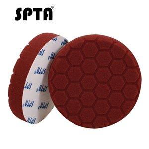 SPTA 6 Inch Hex-lógica Polishing Pad Straight Edge 150 milímetros grosso polimento polidor Sponge Dark Red Polishing Disc poliéster Sponge