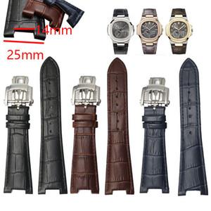 25 millimetri impermeabile Alligator modello in pelle Genuine cinturino cinturino Fold Buckle Man cinturino cinturino per PP Guarda Nautilus Man