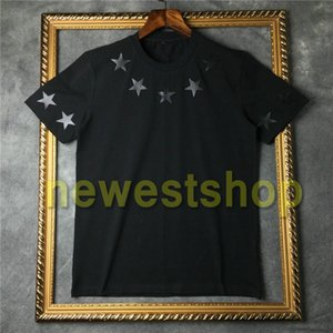 2020 Mens Marca Top verão da mola camiseta de mangas curtas Branco camisa preta de cinco pontas estrela T Shirt Designer t tee t-shirt moda em torno do pescoço