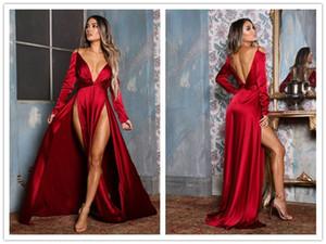 2019 Sexy Evening Dresses Deep V Neck High Splits Elegant Long Sleeve Backless Red Satin Strap Formal Prom Party Dress Club Dress