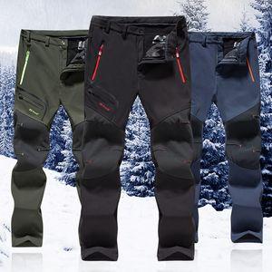 Winter Männer Frauen Wanderhosen Outdoor-Softshell Trousers wasserdicht winddicht Trekking Radfahren Angeln Skifahren Fleece Hosen Y200114