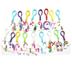 Lindo cuento de hadas PVC unicornio llavero Multi-estilo caballo llaveros titular aleación llavero para mujeres niñas regalo joyería