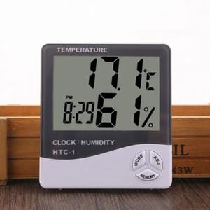 Цифровой ЖК-измеритель влажности термометр с часами Календарь сигнализации с питанием от батареи температуры гигрометр бытовая Precision Clock