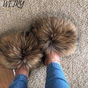 Verano diapositivas de piel de zorro lindo tamaño felpa Fox zapatillas 100% zapatillas de playa de moda de lujo cabello real zorro 36-45