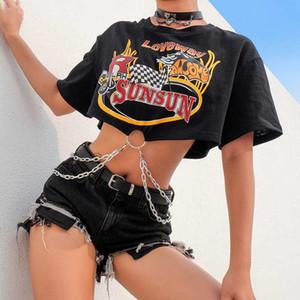 Lettre Rapwriter Casual Imprimer chaîne Patchwork vrac Crop Top Women High Street Half été O-Neck manches courtes T-shirt