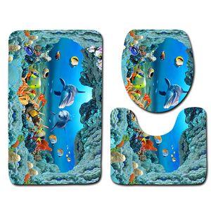 3D mundo submarino Baño Ducha Alfombra de baño WC Tapa Cubierta de baño Alfombra Alfombras la decoración del hogar Dolphin baño Mat Set
