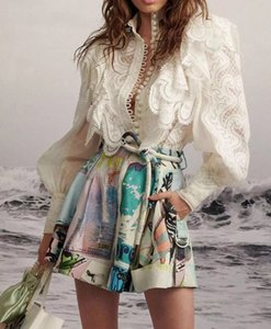 Australia Catwalk Lace Ruffled Lantern Sleeves Shirt Ricamato + Pantaloncini stampati