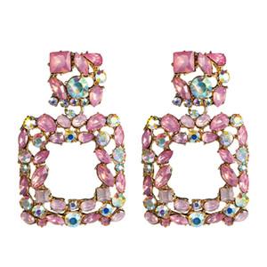 KMVEXO Pendientes Llamativos Rosados para Mujeres Crystal AB Pendiente Grande 2019 Nuevo Rhinestone Gota Earing Lujo Geométrica Joyería de Moda
