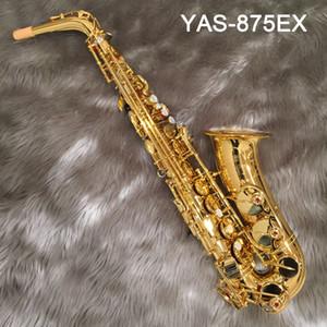 Japão Marca NEW 875EX CUSTOM Alto Saxophone banhado a ouro Gold Key Professional Super Jogar Sax Bocal com caso