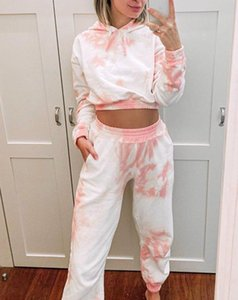 2020 new ladies exposed navel home service printed two-piece female summer long-sleeved trousers home suit