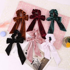 Beauty Women Velvet Bow Streamer Scrunchies Hair Rope Tie Elastic Hair Bands Ponytail Holder Girls Hair Accessories
