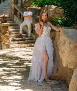 2020 boho Elegant A-Line Bohemian Wedding Dresses short Skirt with detachabled train Beach boho Wedding Bridal Gowns