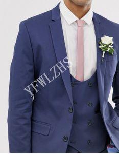 Handsome Two Buttons Groomsmen Notch Lapel Groom Tuxedos Men Suits Wedding Prom Dinner Best Man Blazer(Jacket+Pants+Tie+Vest) W220