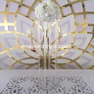 Effacer grand mariage pilier de passerelle de cristal Colonnes piédestal Centerpiece Jardinière scène acrylique mariage senyu0169