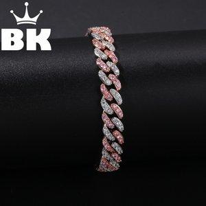 Hip Hop Micro Pave CZ Cuban Copper Bracelet Zircon Hommes Punk Cubic 7 pouces / 8 pouces Bracelet Miami accepter couleur personnalisée