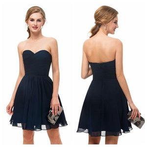 Sweetheart A-Line Chiffon Navy Cocktail Dress Pleated Skirt Short Prom Dresses Zipper Up Back Petite Cocktail Dresses