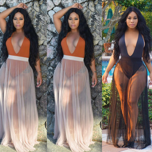 Yeni Moda Kadın Pileli Bikini Kapak-Ups Mayo Şeffaf Mesh Plaj Uzun Maxi Sonuç Etek Pareo Sundress Seksi
