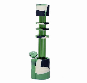 Hot new Gatling Silicone Bong water pipe with 5 glass gun tubes gatling bongs silicone pipe 14mm joint(SB-003)