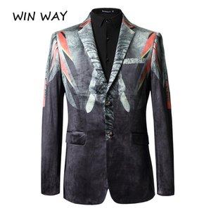 Win Way Blazer Men Casual Print Jacke Anzug Bühne Host-europäische Art-Mann-Kostüm Slim Fit Luxus Oberbekleidung