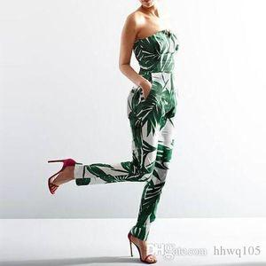Crazy2019 Ladies Bandeau Jumpsuit Romper Green Leaf Print Sin tirantes Long Jumpsuit Verano bohemio mono de una pieza pantalones lápiz YH129