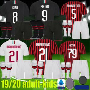 meninos jovens adultos 2019 2020 AC IBRAHIMOVIC Milão Soccer Jersey 19 20 Piatek SUSO R.LEAO Homens Crianças Kits ROMAGNOLI Paquetá Football Shirt