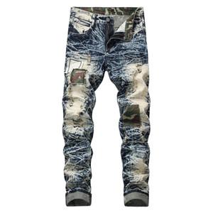 Designer de moda Mens Jeans Slim Motociclista Motociclista Causal Mens Denim Calças Hip Hop dos homens Angustiado Skinny Jeans