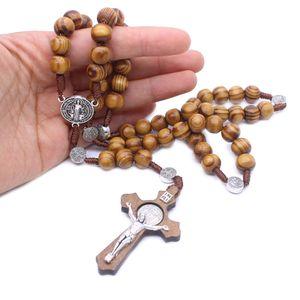بارك موضة جديدة جولة اليدوية الخرزة الكاثوليكية الوردية الصليب الدينية البني الخشب الخرز الرجال قلادة الوردية الله فيكم