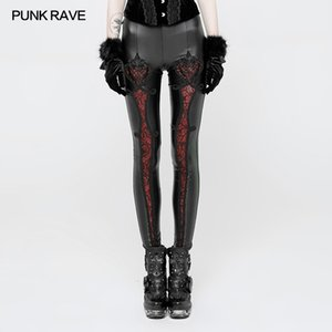 PUNK RAVE Women Steampunk Vintage Embossed Leggings Fas Mesh Lace Leggings Sexy Women Club Party Pants Gothic Leather Pants CJ191206