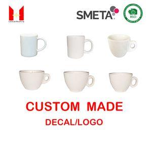 Logo personnalisé Tasses populaires tasses de café en céramique super porcelaine blanche cadeau Tasse tasses Dessert Biscuits Cup de tasses de vacances