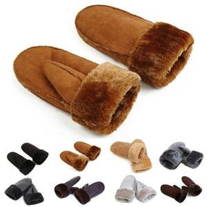 Guanti di lana Donne pelle di pecora Guanti Guanti senza dita addensare polso caldo di cuoio di inverno Mittens 6 ColorsTrim pelliccia per le escursioni a cavallo Viaggi