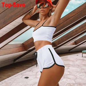 Sexy Two Piece Set Women Bodycon Matching Sets Crop Tops Biker Shorts Sweat Suits Summer Outfits Sports 2 Pcs Tracksuit Clothing