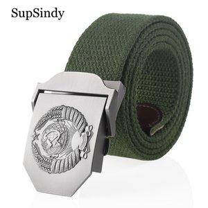 SupSindy Nueva correa de lona 3D Soviética Nacional del emblema vaqueros hebilla de metal correas de los cinturones tácticos Army Men CCCP correa masculina