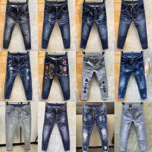 2020 luxury clothesdsquared2 men designer mens ripped jeans d2 icon jean denim embroidery holes zipper pants trousers skinny Jeans