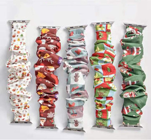 5 Colours Noel Çocuk İzle Scrunchie Gruplar 38mm 42mm Elastik Scrunchies Bilezik Noel Baba İzle Kayışlar sapanlar M814 yazdır