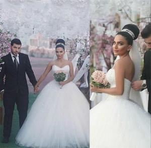 Graceful robe de bal perles perles de mariage robes vintage Pricness chérie Backless long arabe Dubaï Robe de mariée Custom Made