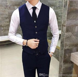Clothing Men Business Suit Slim Vest Sleeveless Fashion Solid Color Mens Outerwear Male
