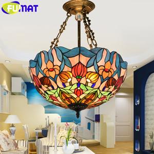 Luzes de Pingente FUMAT Tiffany Mediterrâneo Vitral Hanglamp Luster luz Pendurado Dispositivo Elétrico de Iluminação Luminária Sala de Jantar