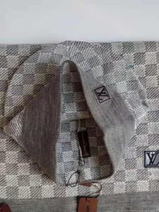 дизайн Высочайшее качество знаменитости Письмо печати Шерстяной шарф Cap Set Мужчины Женщины кашемира шерсти шарф шляпа 2рс PETIT DAMIER