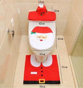 سانتا مقعد المرحاض يغطي عيد الميلاد الديكور البساط الرنة يغطي مقعد المرحاض البساط Hotel الحمام مجموعة هدية عيد الميلاد 4PCS / مجموعة LXL376-A