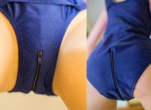 Haizi Milk silk charming milk silk high elastic open crotch school swimsuit one-piece swimsuit