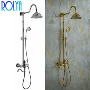 Rolya Chrome / Golden Classic Exposed Round Rain Shower Head Conjunto de chuveiro de mão Punho cruzado em ouro Latão maciço