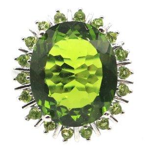 24x20mm SheCrown Classic 18x15mm Creato Gioielli verde Peridot Suor Fare Anelli d'argento