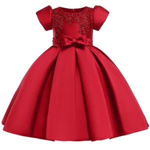 Enfants Robe Filles Pageant Fête D'anniversaire De Mariage Fleur Filles Robes pour Filles Perles Formelles Arc Tutu Princesse